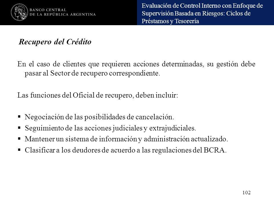 Recupero del Crédito En el caso de clientes que requieren acciones determinadas, su gestión debe pasar al Sector de recupero correspondiente.