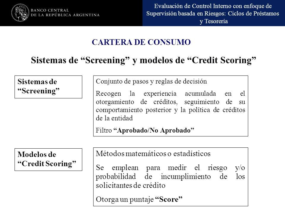 Sistemas de Screening y modelos de Credit Scoring