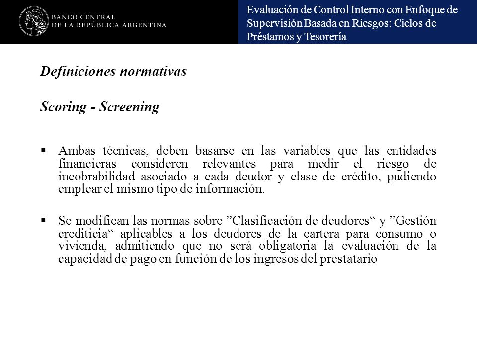 Definiciones normativas Scoring - Screening