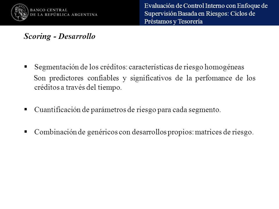 Scoring - Desarrollo Segmentación de los créditos: características de riesgo homogéneas.