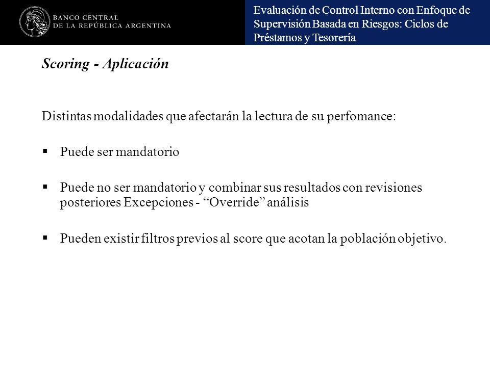 Scoring - Aplicación Distintas modalidades que afectarán la lectura de su perfomance: Puede ser mandatorio.