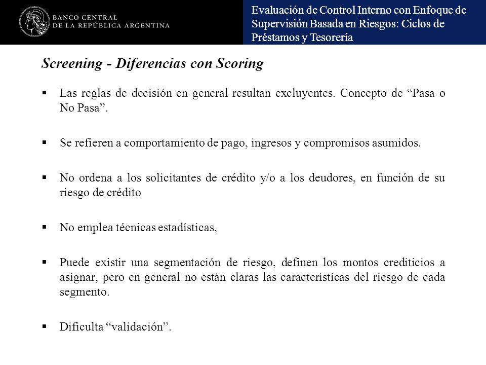 Screening - Diferencias con Scoring