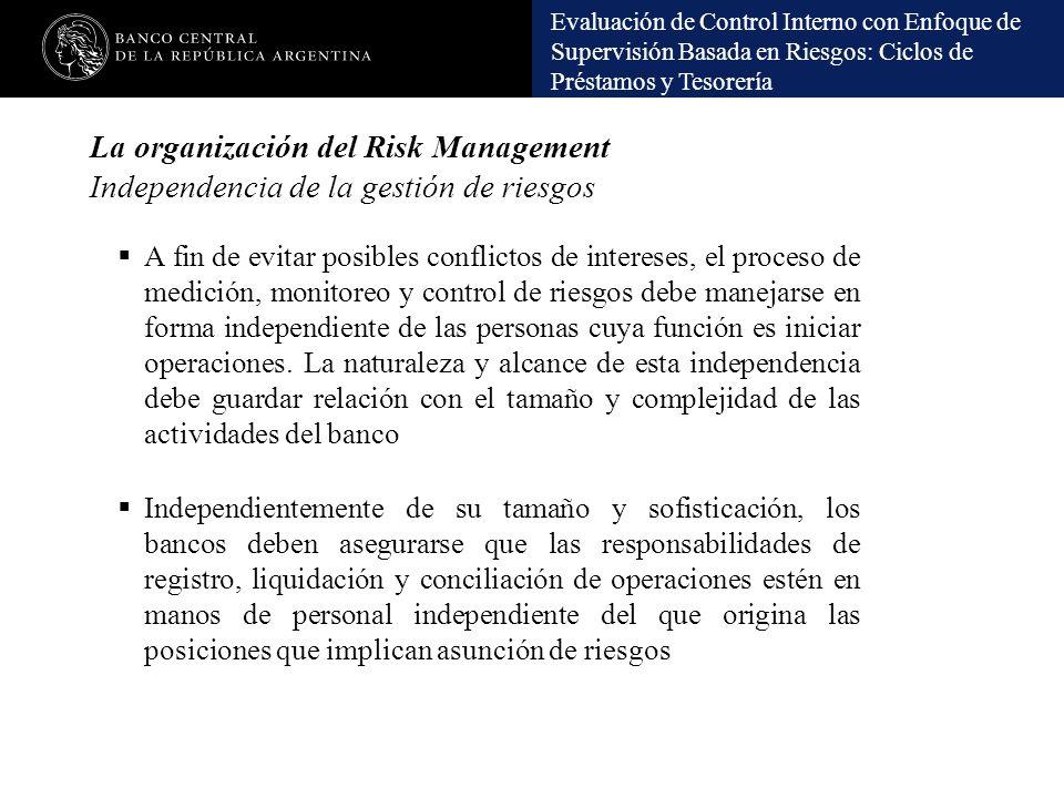 La organización del Risk Management Independencia de la gestión de riesgos