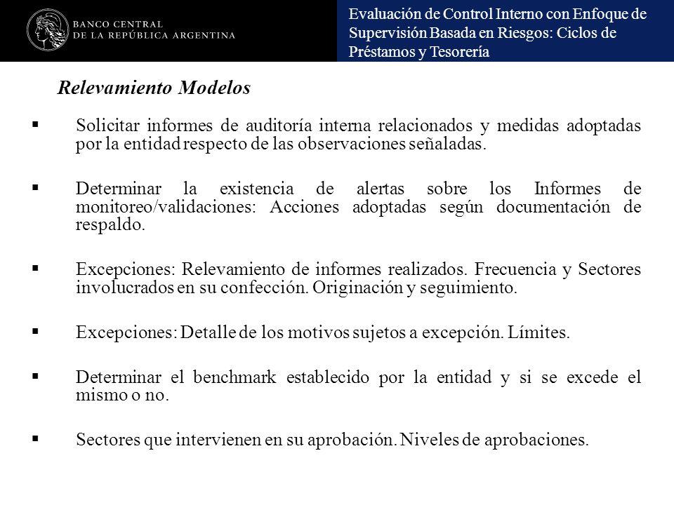 Relevamiento Modelos Solicitar informes de auditoría interna relacionados y medidas adoptadas por la entidad respecto de las observaciones señaladas.