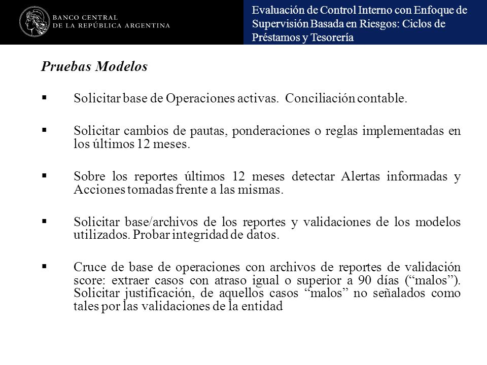 Pruebas Modelos Solicitar base de Operaciones activas. Conciliación contable.