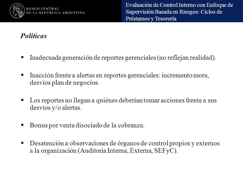 Políticas Inadecuada generación de reportes gerenciales (no reflejan realidad).