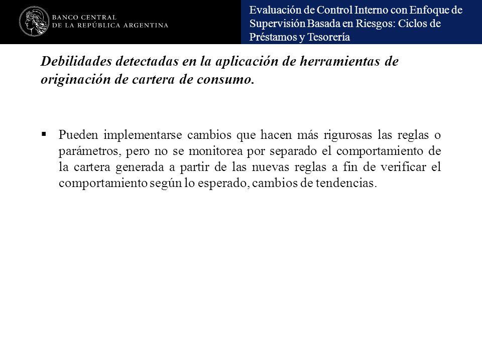 Debilidades detectadas en la aplicación de herramientas de originación de cartera de consumo.