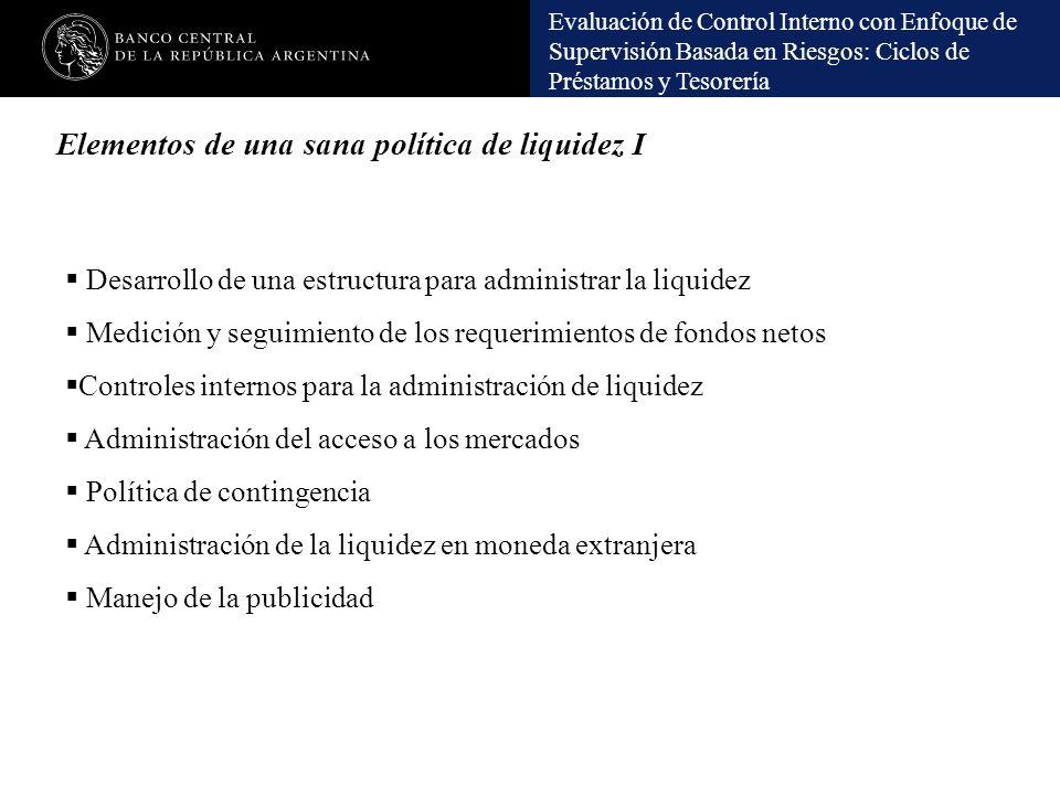 Elementos de una sana política de liquidez I