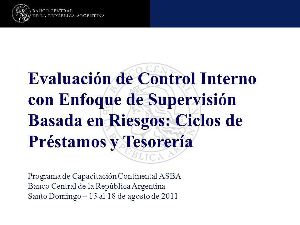 Evaluación de Control Interno con Enfoque de Supervisión Basada en Riesgos: Ciclos de Préstamos y Tesorería