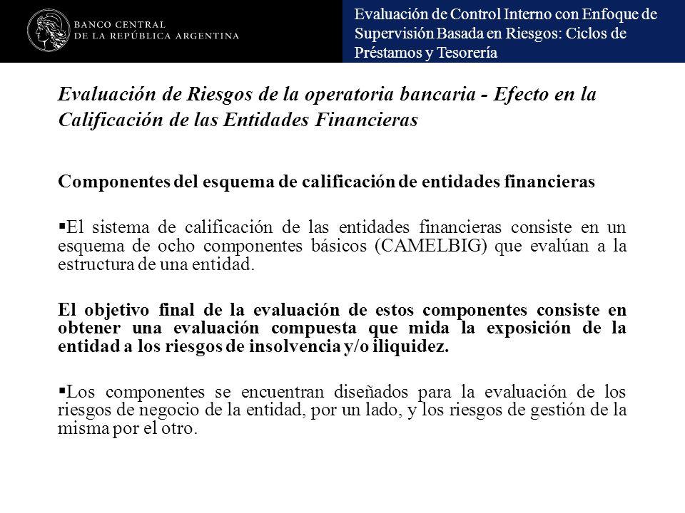 Evaluación de Riesgos de la operatoria bancaria - Efecto en la Calificación de las Entidades Financieras
