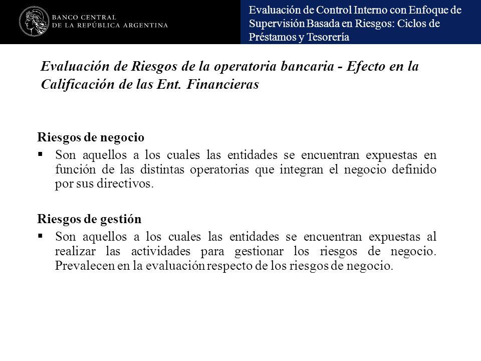 Evaluación de Riesgos de la operatoria bancaria - Efecto en la Calificación de las Ent. Financieras