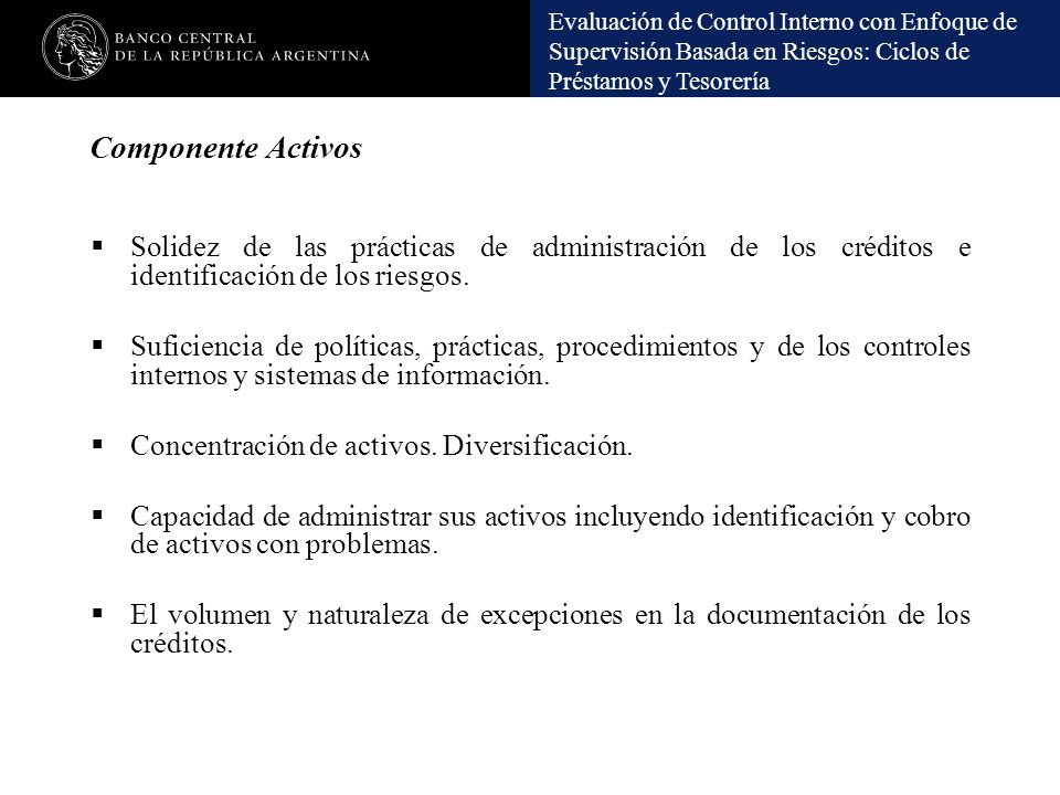 Componente Activos Solidez de las prácticas de administración de los créditos e identificación de los riesgos.