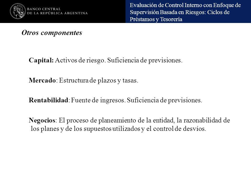 Otros componentes Capital: Activos de riesgo. Suficiencia de previsiones. Mercado: Estructura de plazos y tasas.