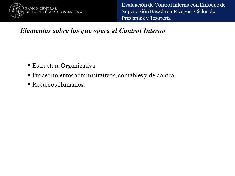 Elementos sobre los que opera el Control Interno