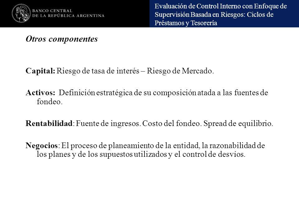 Otros componentes Capital: Riesgo de tasa de interés – Riesgo de Mercado.