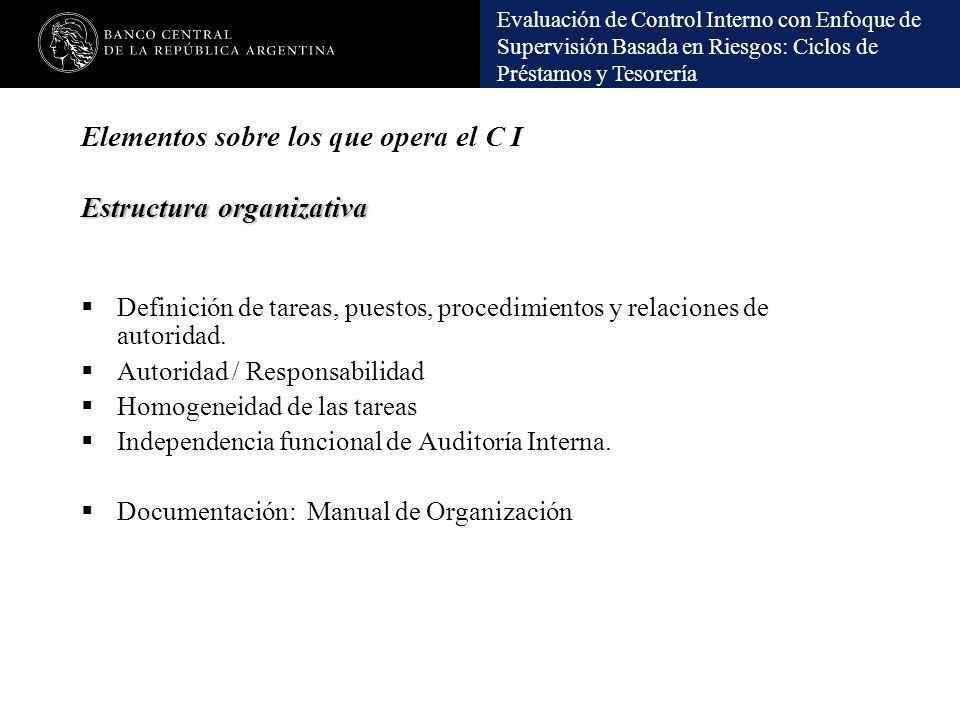 Elementos sobre los que opera el C I Estructura organizativa