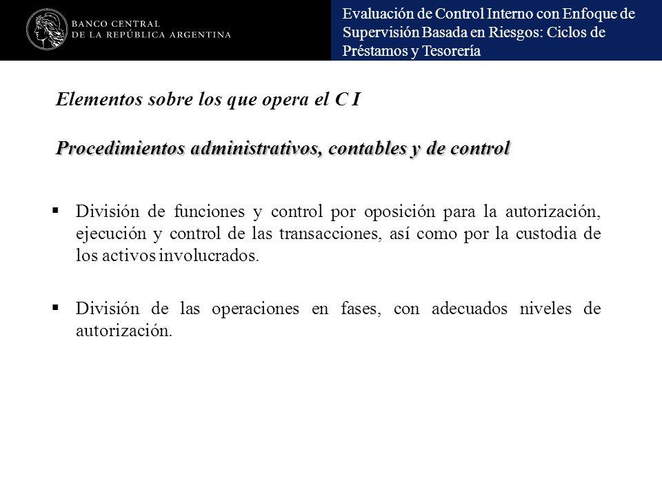 Elementos sobre los que opera el C I Procedimientos administrativos, contables y de control