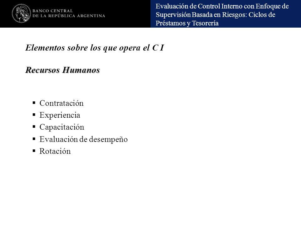 Elementos sobre los que opera el C I Recursos Humanos