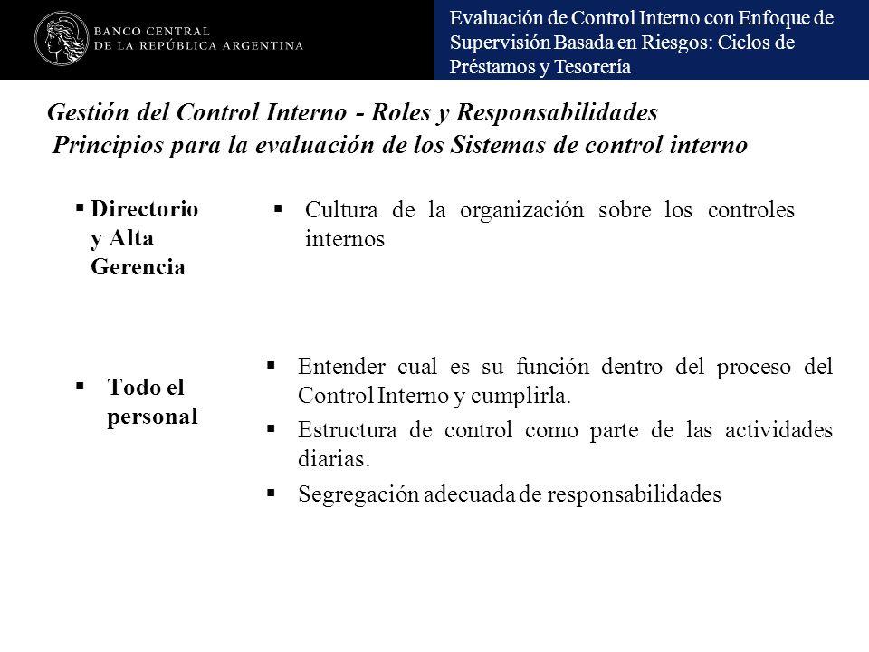 Gestión del Control Interno - Roles y Responsabilidades Principios para la evaluación de los Sistemas de control interno
