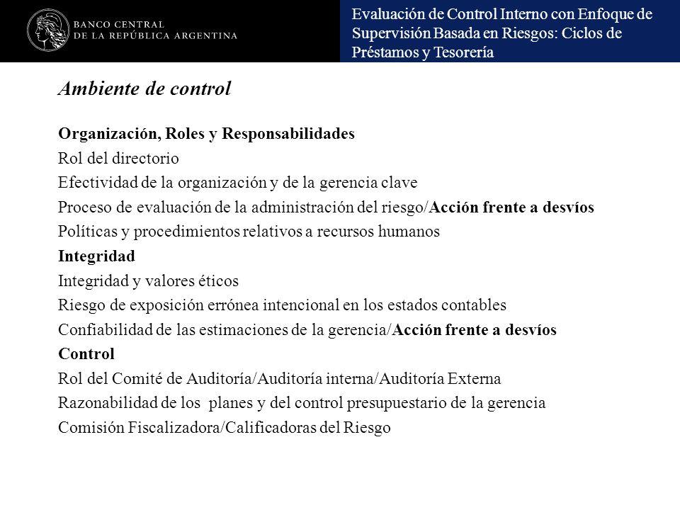 Ambiente de control Organización, Roles y Responsabilidades