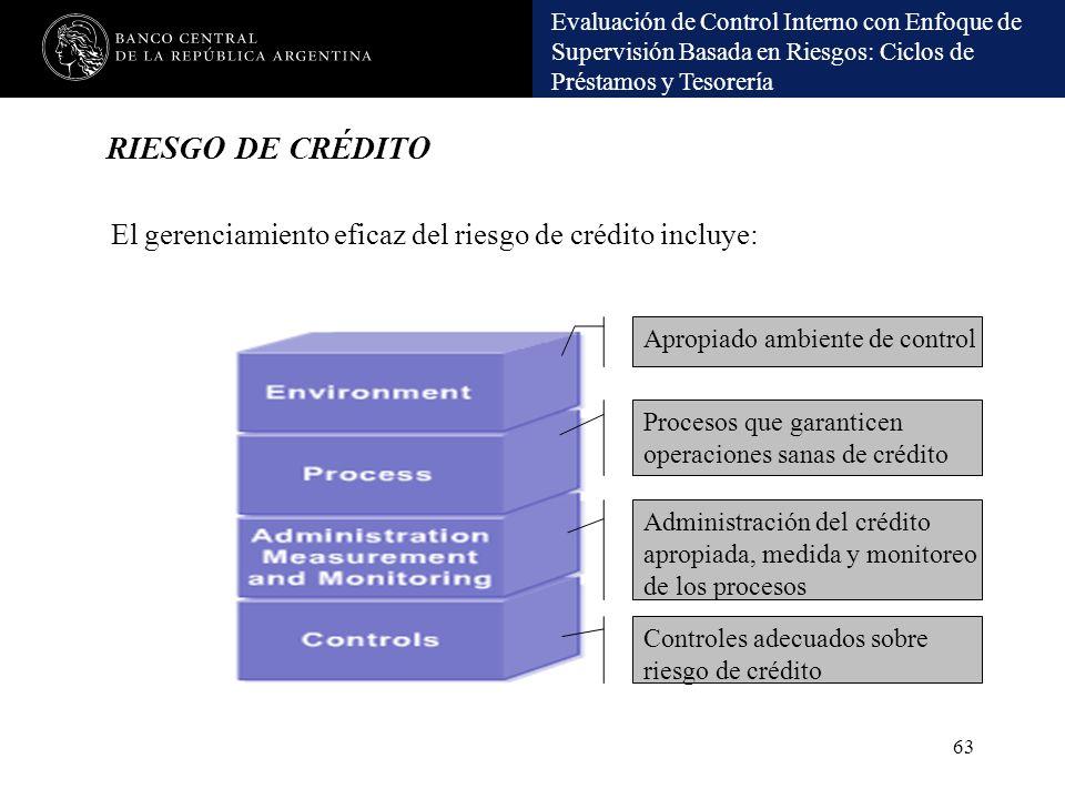 RIESGO DE CRÉDITO El gerenciamiento eficaz del riesgo de crédito incluye: Apropiado ambiente de control.
