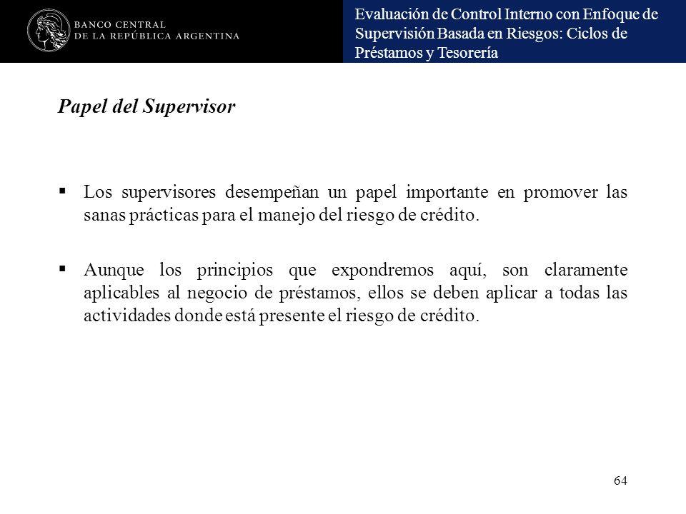 Papel del Supervisor Los supervisores desempeñan un papel importante en promover las sanas prácticas para el manejo del riesgo de crédito.