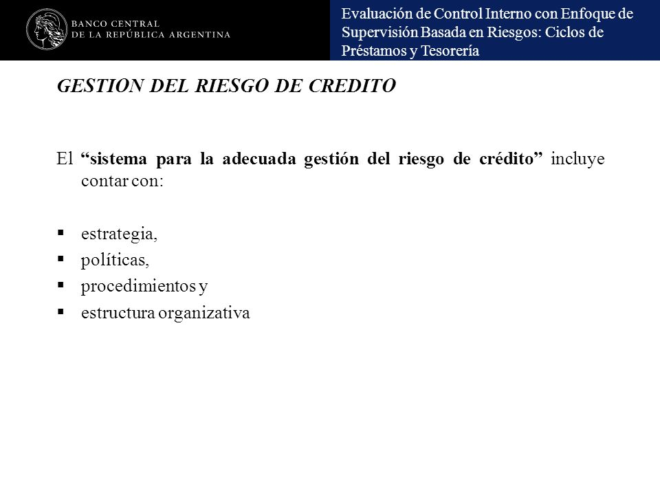 GESTION DEL RIESGO DE CREDITO