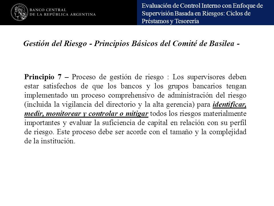 Gestión del Riesgo - Principios Básicos del Comité de Basilea -