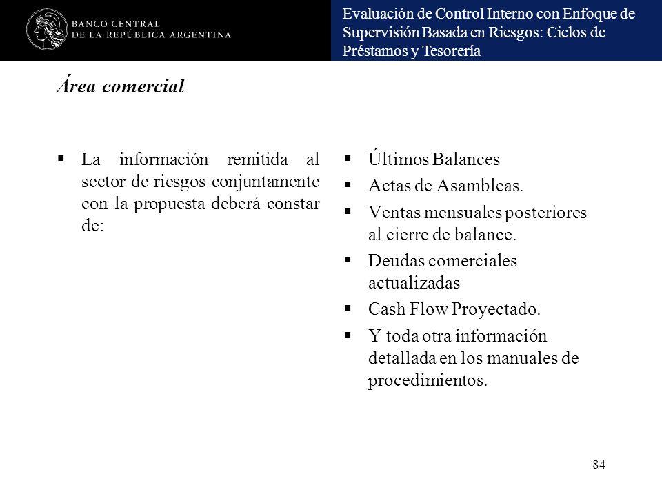Área comercial La información remitida al sector de riesgos conjuntamente con la propuesta deberá constar de: