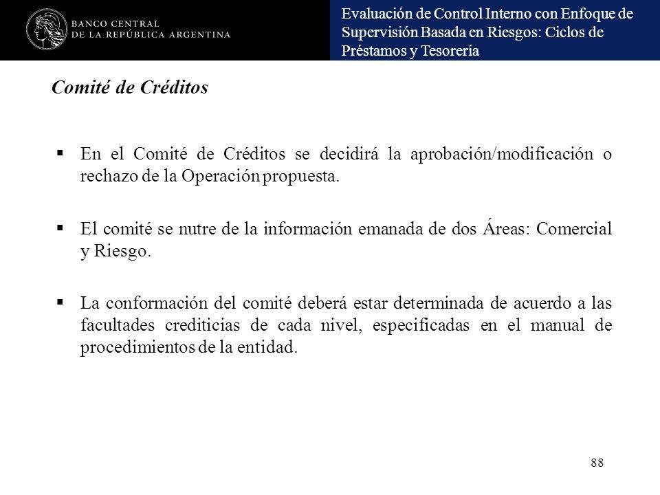 Comité de Créditos En el Comité de Créditos se decidirá la aprobación/modificación o rechazo de la Operación propuesta.
