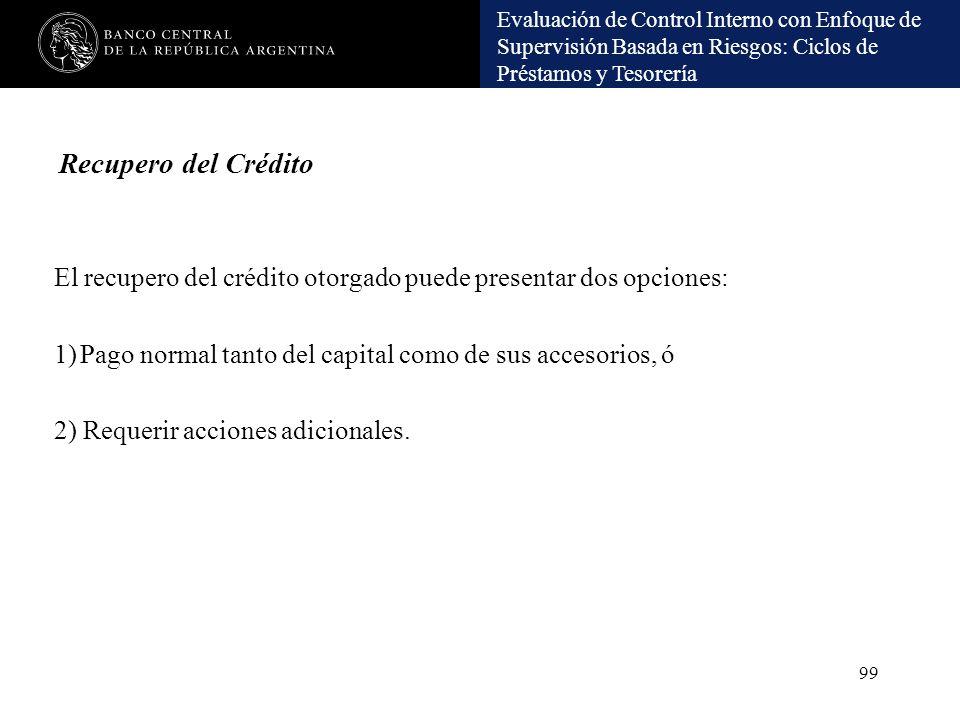 Recupero del Crédito El recupero del crédito otorgado puede presentar dos opciones: Pago normal tanto del capital como de sus accesorios, ó.