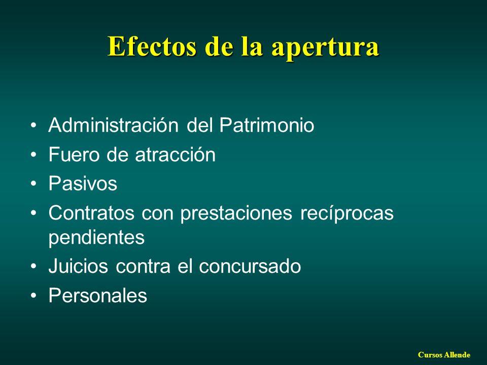 Efectos de la apertura Administración del Patrimonio
