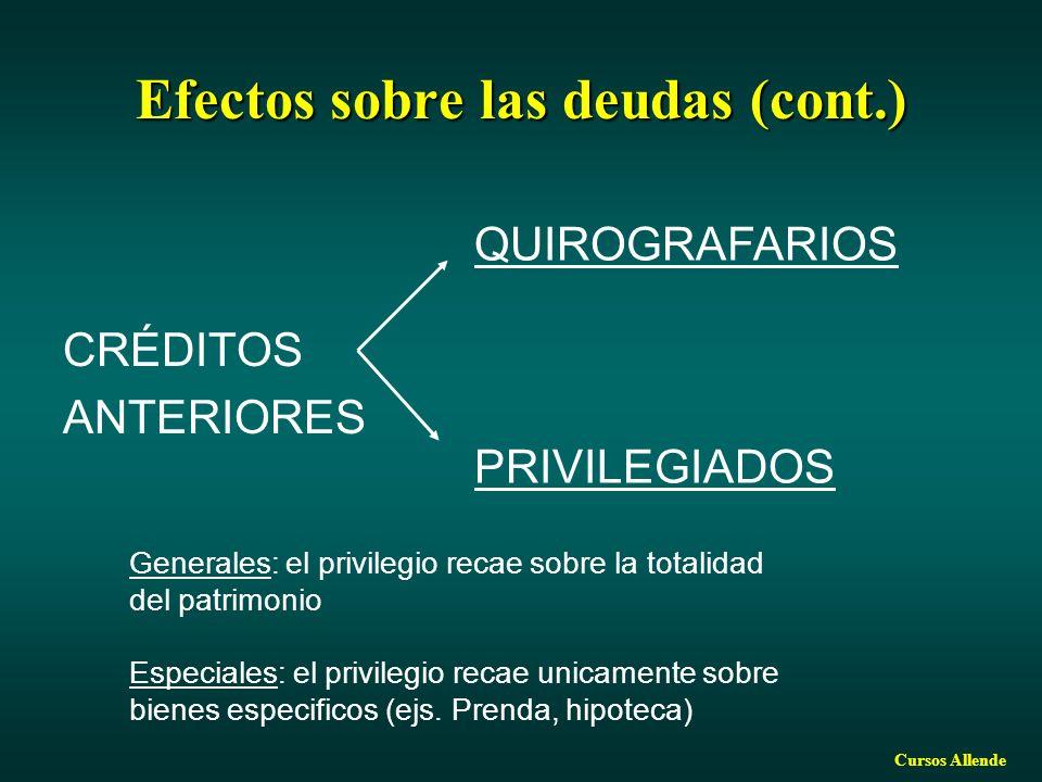 Efectos sobre las deudas (cont.)