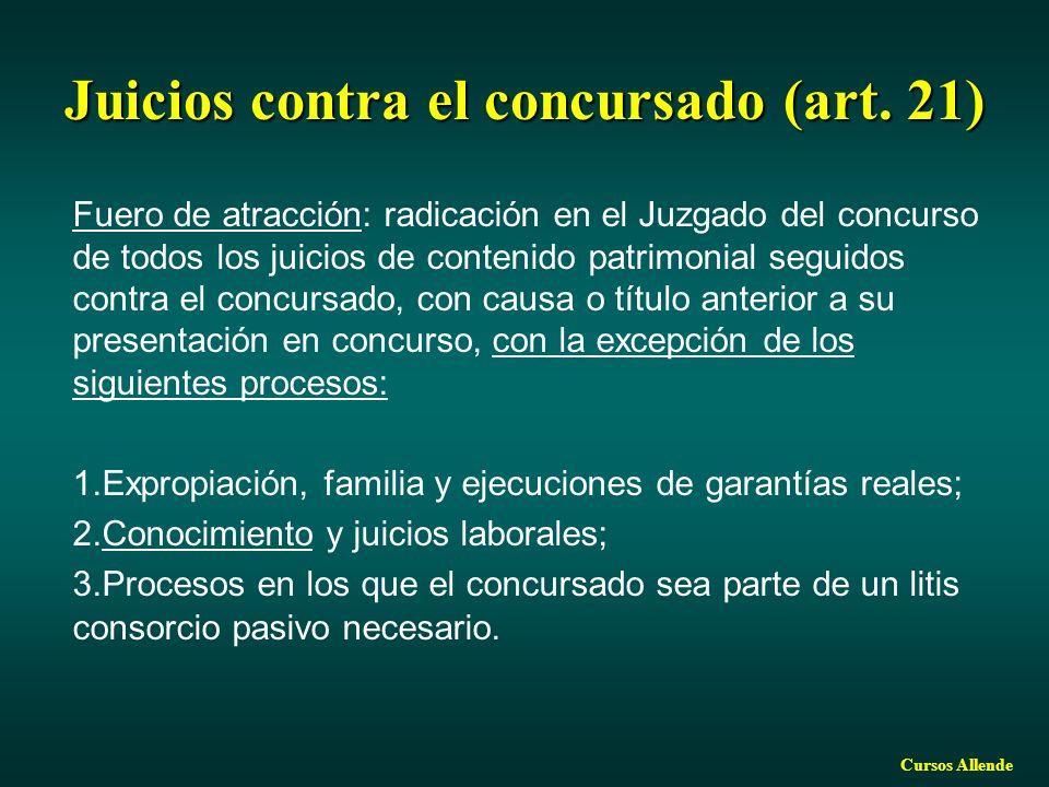 Juicios contra el concursado (art. 21)