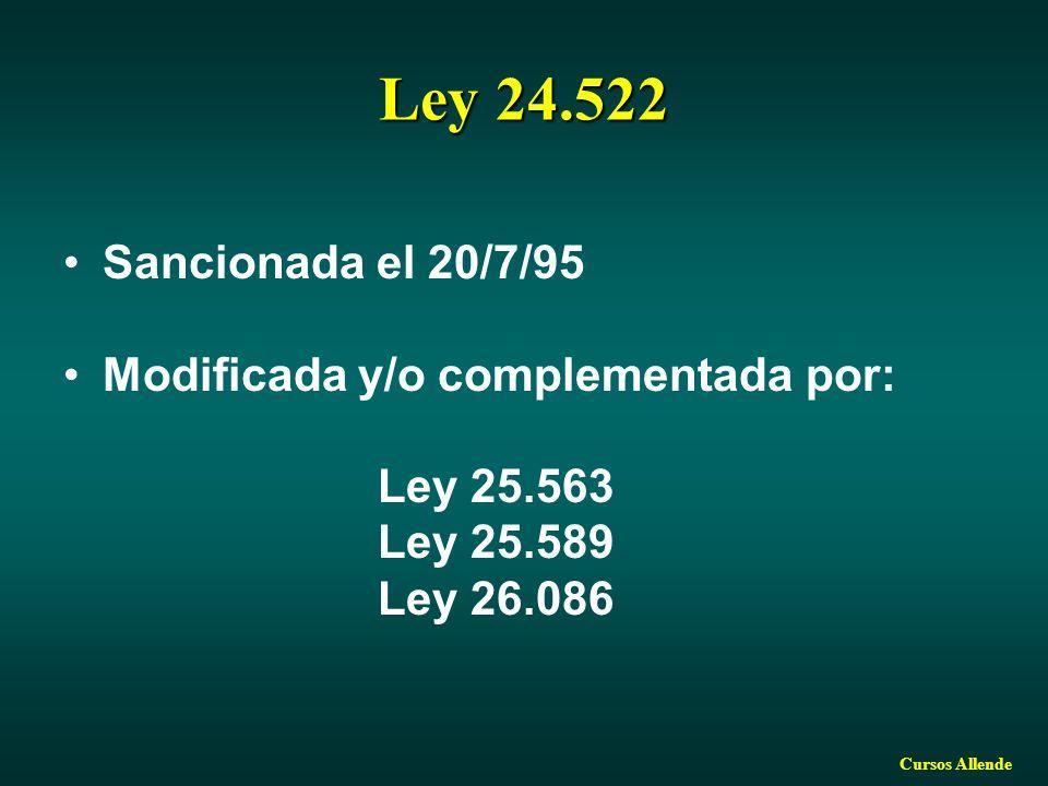 Ley 24.522 Sancionada el 20/7/95 Modificada y/o complementada por: