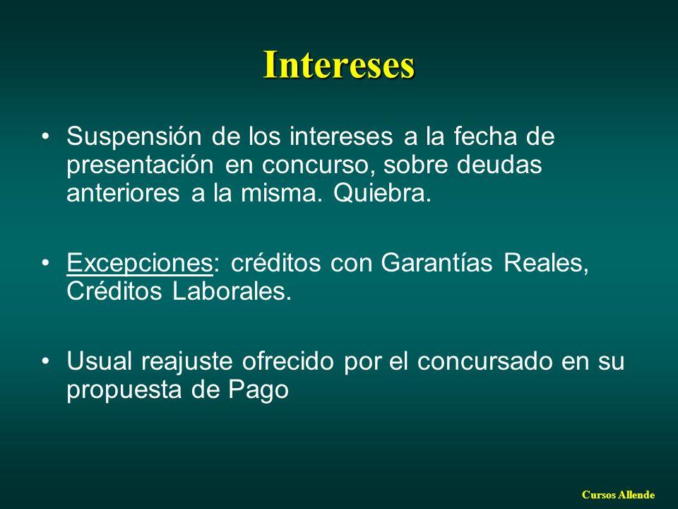 Intereses Suspensión de los intereses a la fecha de presentación en concurso, sobre deudas anteriores a la misma. Quiebra.