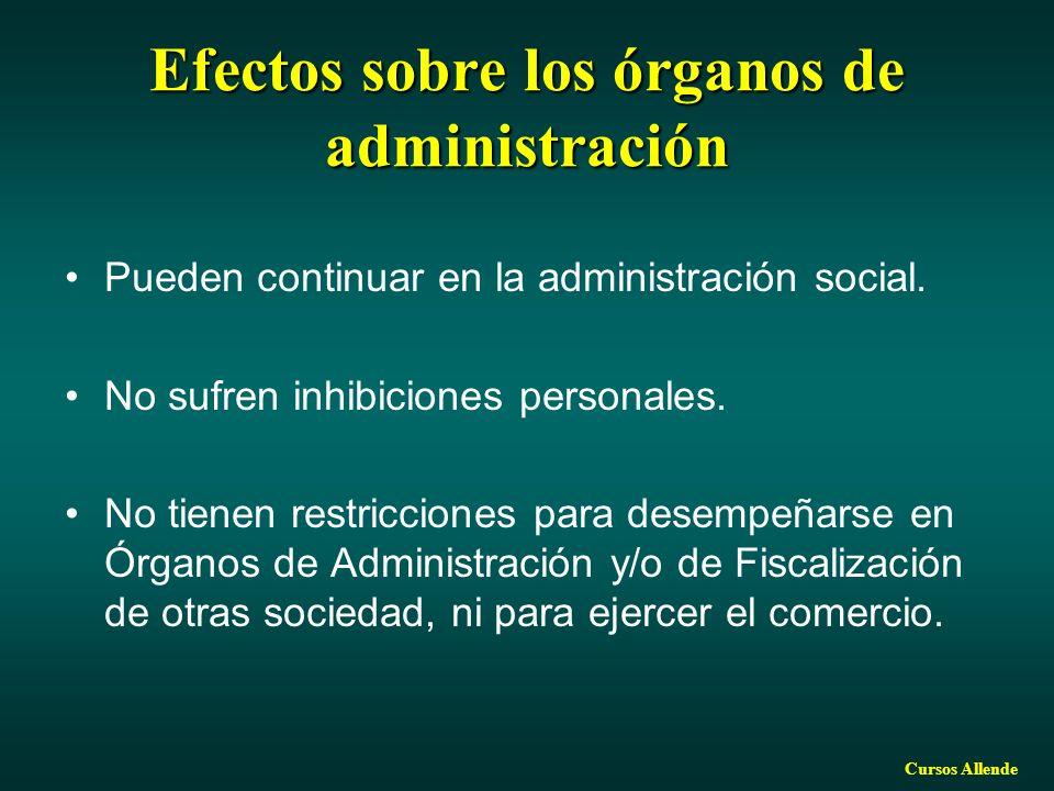 Efectos sobre los órganos de administración