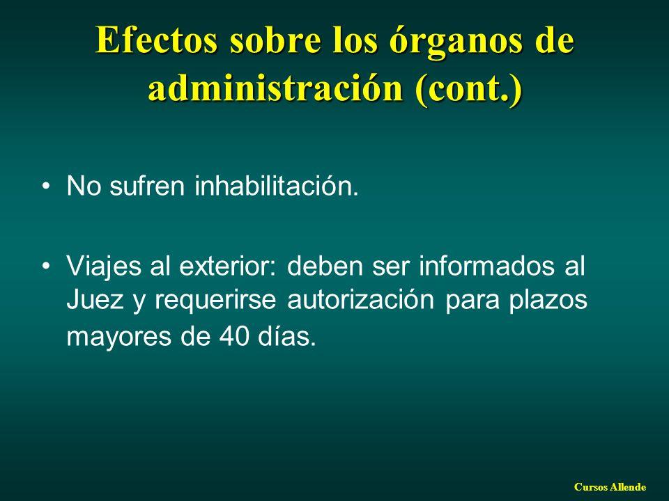 Efectos sobre los órganos de administración (cont.)