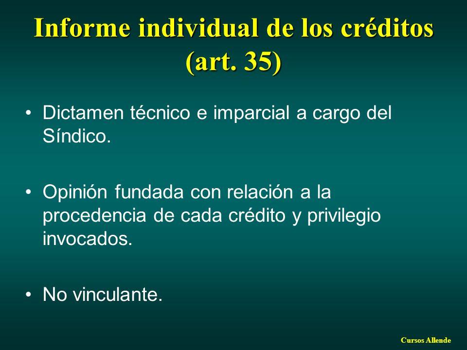 Informe individual de los créditos (art. 35)