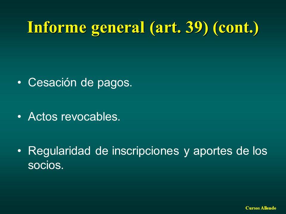 Informe general (art. 39) (cont.)
