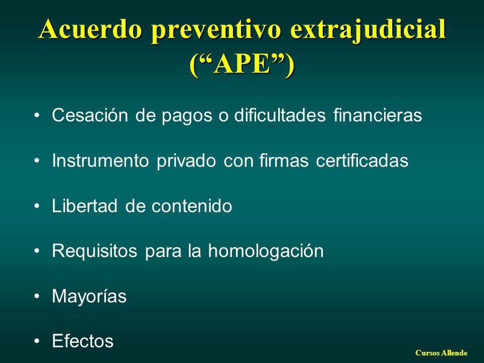 Acuerdo preventivo extrajudicial ( APE )