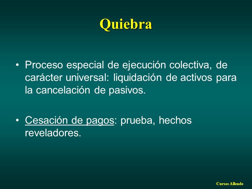 Quiebra Proceso especial de ejecución colectiva, de carácter universal: liquidación de activos para la cancelación de pasivos.