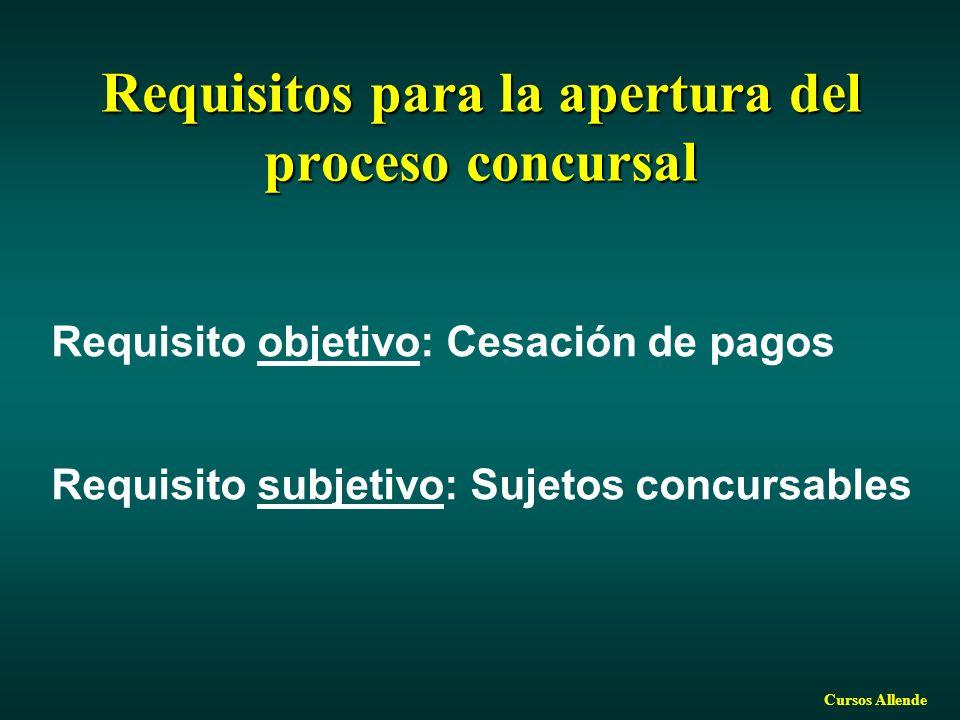 Requisitos para la apertura del proceso concursal