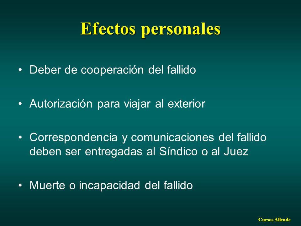 Efectos personales Deber de cooperación del fallido
