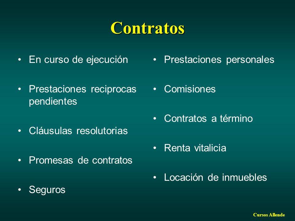 Contratos En curso de ejecución Prestaciones reciprocas pendientes