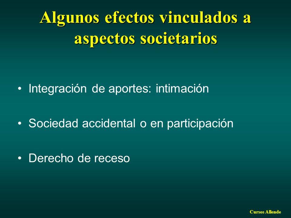 Algunos efectos vinculados a aspectos societarios