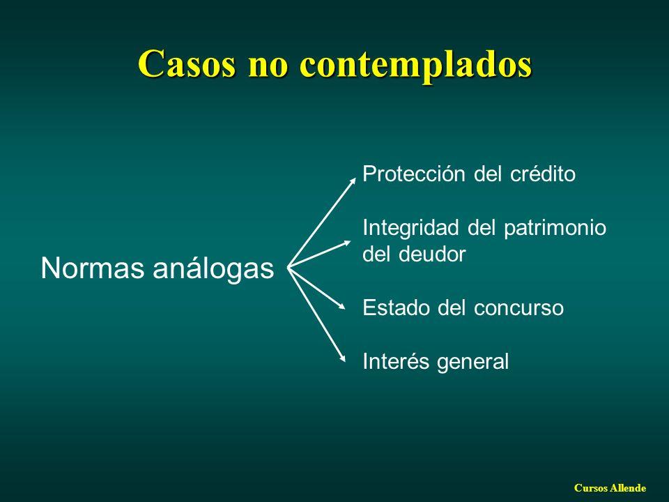 Casos no contemplados Normas análogas Protección del crédito
