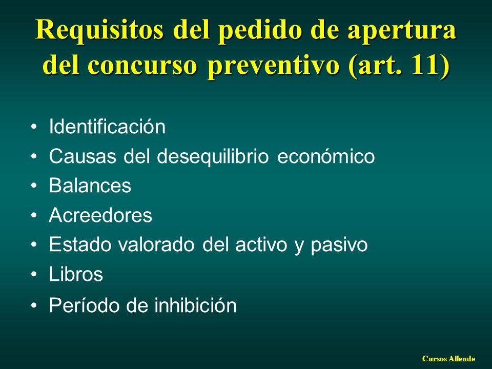 Requisitos del pedido de apertura del concurso preventivo (art. 11)