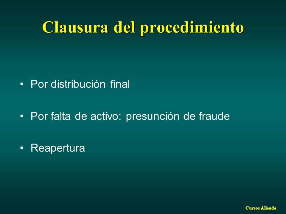 Clausura del procedimiento