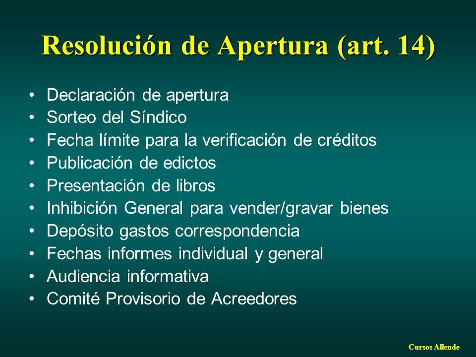 Resolución de Apertura (art. 14)